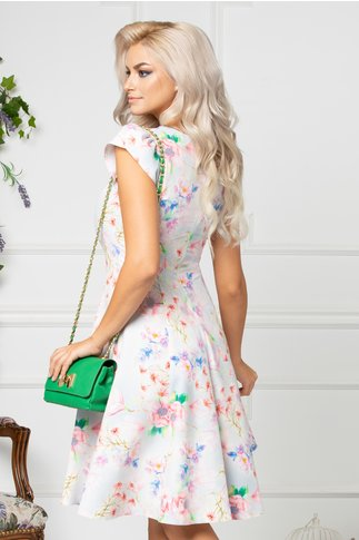 Rochie Beth bleu de vara cu flori roz
