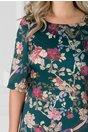 Rochie Beth verde cu imprimeu floral