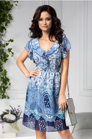 Rochie Betina vaporoasa bleu cu imprimeu