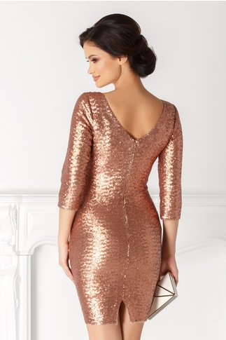 Rochie Betty gold rose din paiete