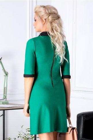 Rochie Betty verde cu guler negru