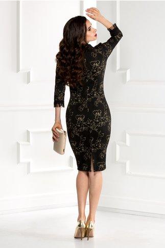 Rochie Beverly neagra cu imprimeu floral auriu