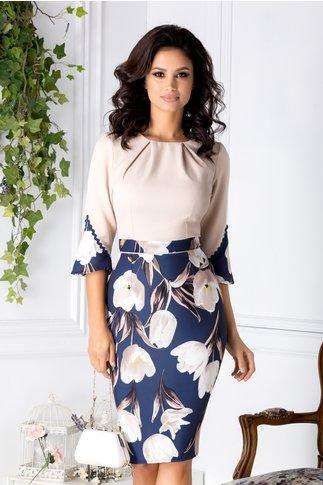 Rochie Bianca bej cu bleumarin si imprimeu floral