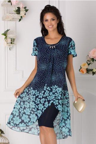 Rochie Bianca bleumarin cu imprimeu floral bleu