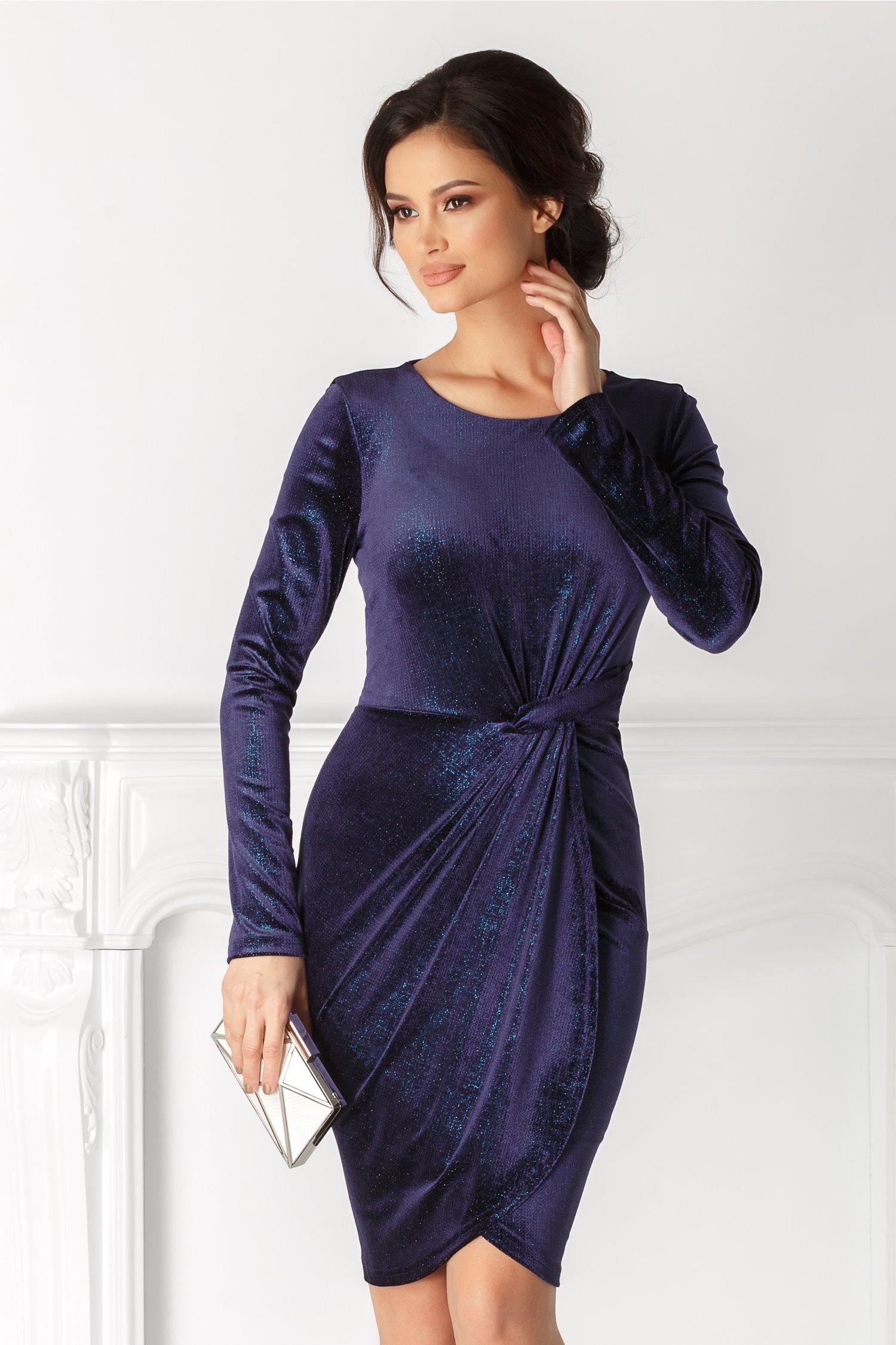 Rochie Bianca din catifea bleumarin cu reflexii turcoaz