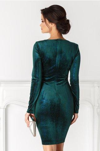 Rochie Bianca din catifea verde cu reflexii turcoaz