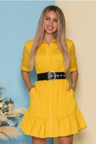Rochie Bianca tip camasa galbena cu dungi