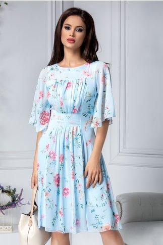 Rochie Bianka vaporoas de vara bleu cu flori
