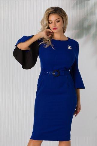 Rochie Billie albastra cu maneci clopot la baza