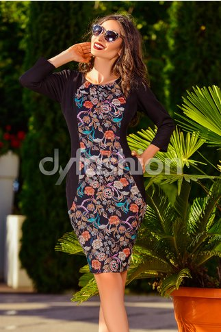 Rochie Black Diafane Flowers
