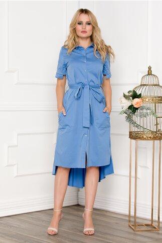 Rochie bleu asimetrica tip camasa stransa in talie cu un cordon