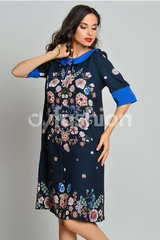 Rochie Bleumarin cu Imprimeuri Florale si Guler Albastru