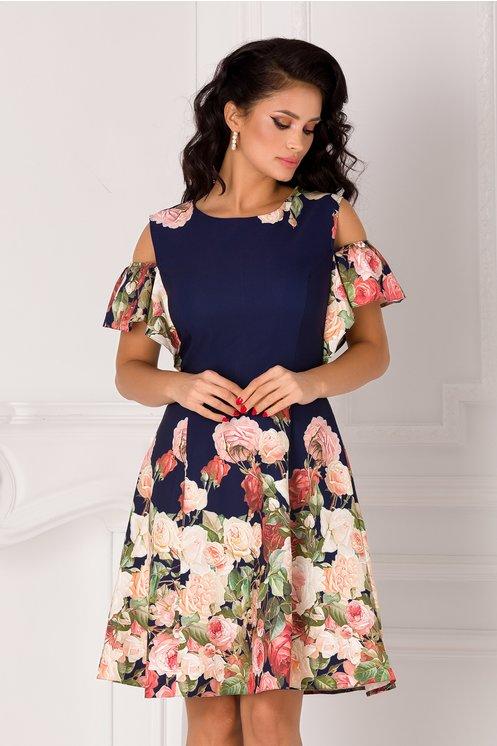 Rochie bleumarin cu trandafiri si maneci decupate