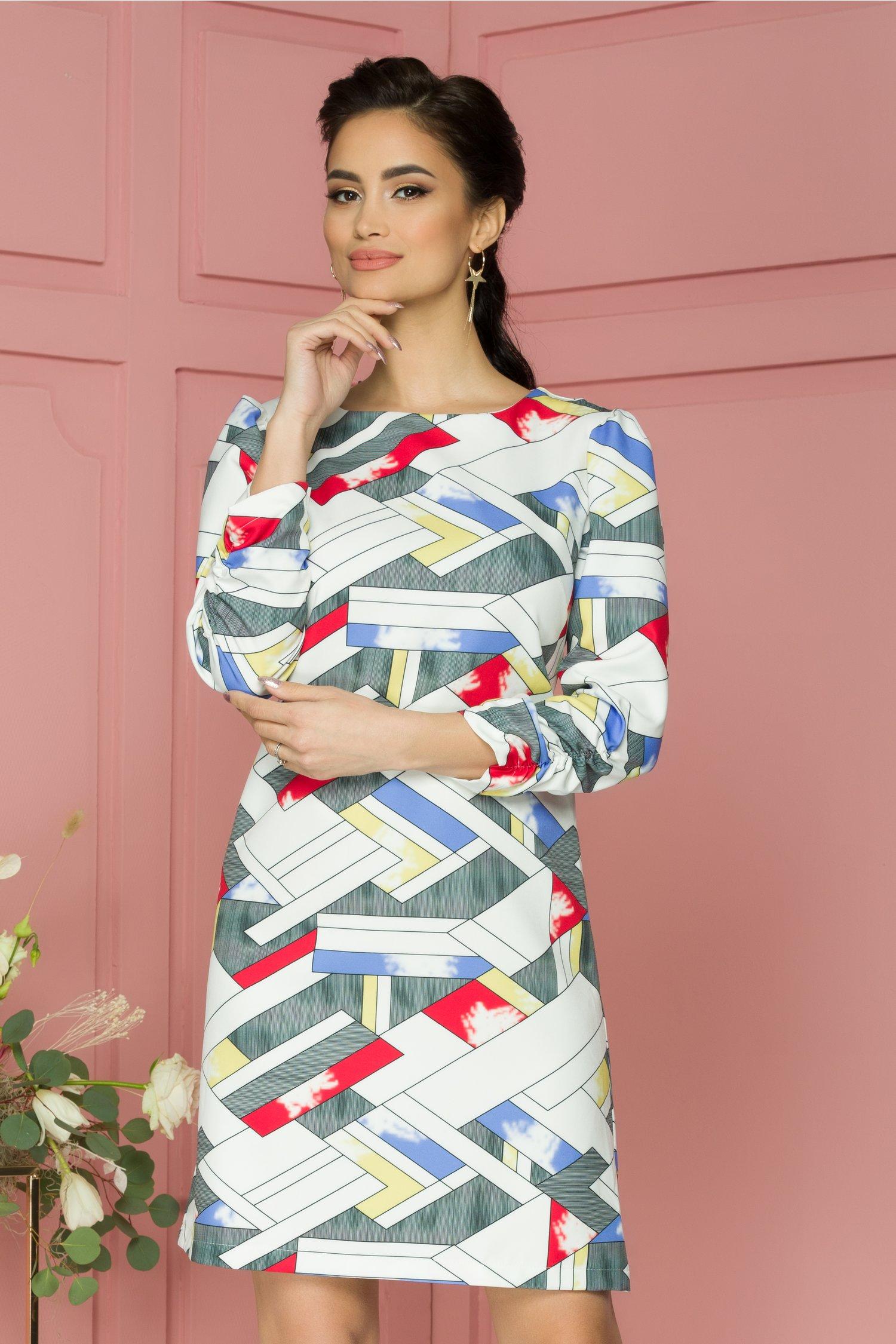 Rochie Bloomy alba cu imprimeu geometric multicolor