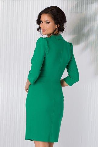 Rochie Brenna verde midi stil sacou cu nasturi