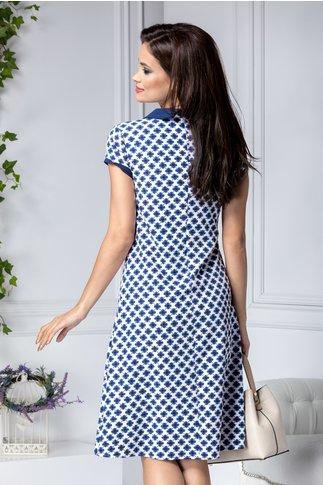 Rochie Briana alba cu imprimeu bleumarin