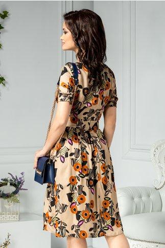 Rochie Brietta bej cu imprimeu floral orange