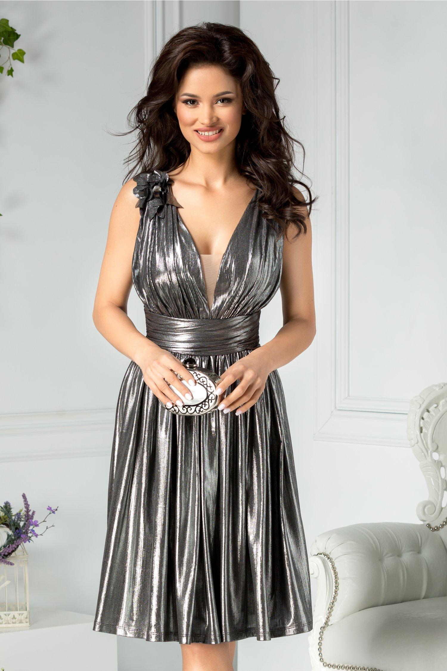 Rochie Ladonna Brigitta midi de ocazie argintiu metalizat