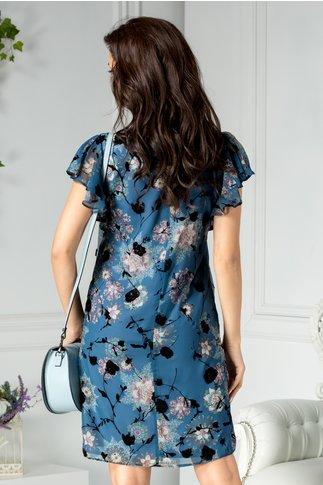 Rochie Brise albastra cu detalii florale din catifea