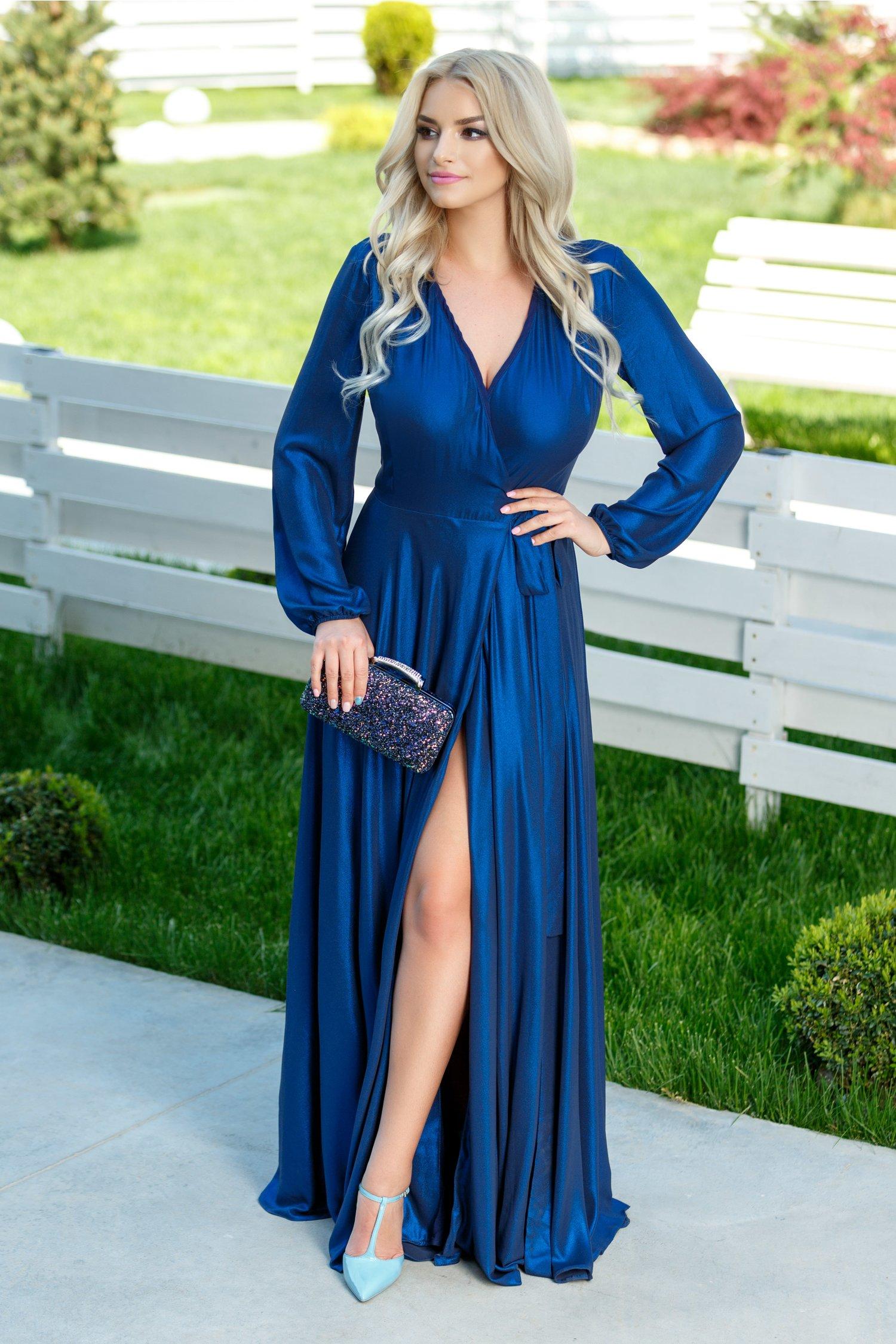 Rochie Brise Brittney albastru metalic lunga eleganta