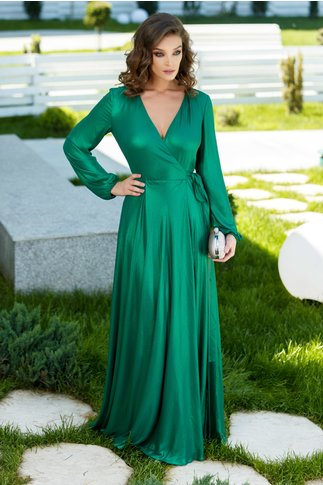 Rochie Brise Brittney verde metalic lunga de seara