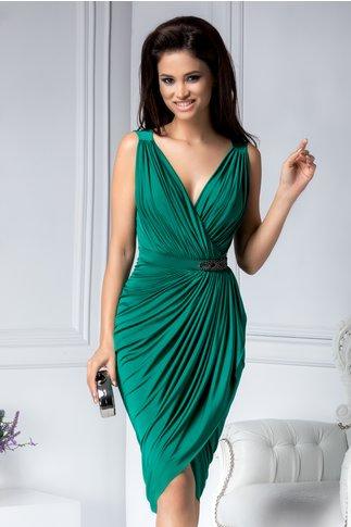 Rochie Brise de ocazie verde asimetrica cu accesoriu in talie