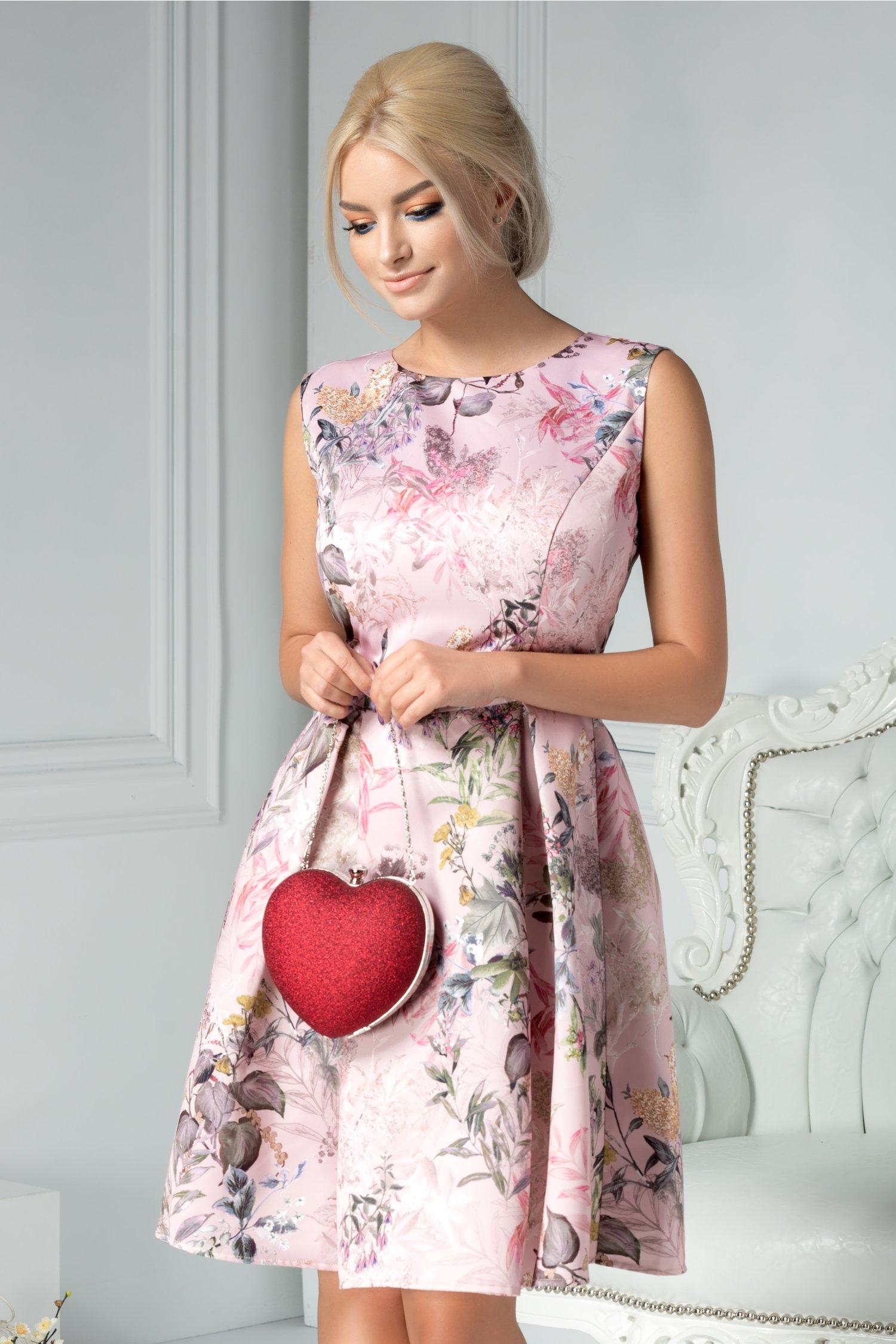 Rochie Brise Lidia roz cu imprimeu floral deosebit