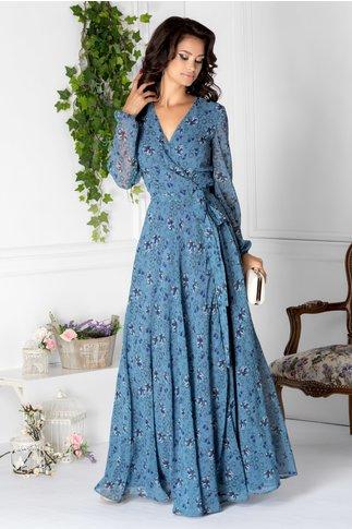 Rochie Brise lunga albastra cu imprimeu floral