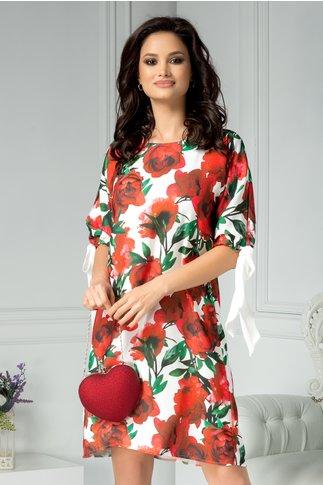 Rochie Brise Marine alba cu trandafiri rosii