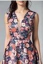 Rochie Brise Martyna bleumarin midi cu imprimeu floral roz