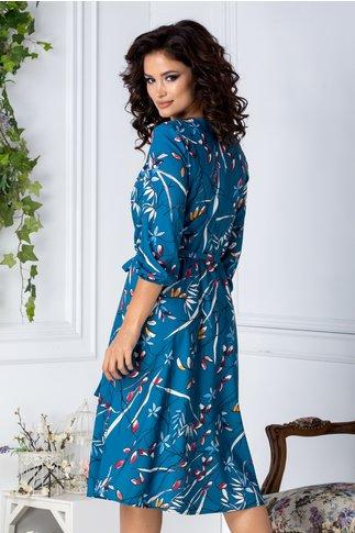 Rochie Brise midi turcoaz cu imprimeu floral