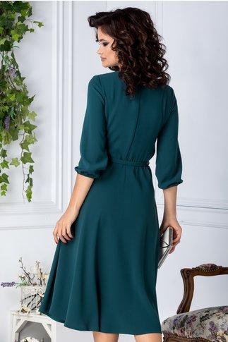 Rochie Brise midi verde petrol eleganta