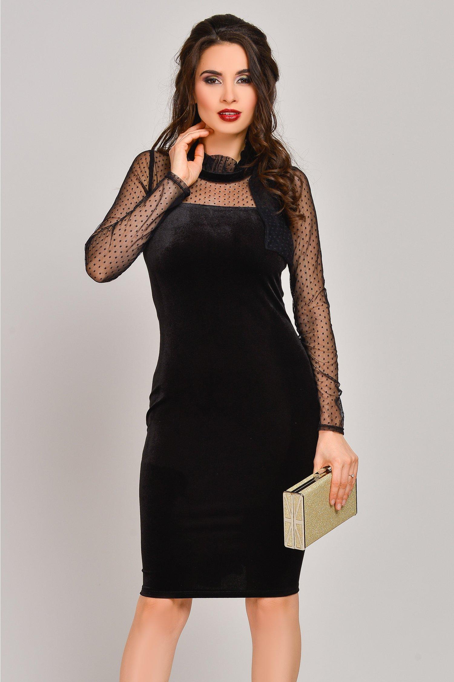 Rochie Brise neagra mulata din catifea cu maneci tull