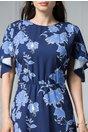 Rochie Brise Patsy bleumarin cu impreumeu floral albastru