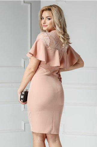 Rochie Brise Rafila roz pudra cu dantela