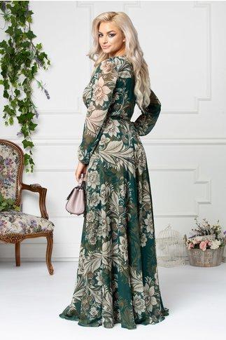 Rochie Brise Rossana verde lunga cu imprimeu floral