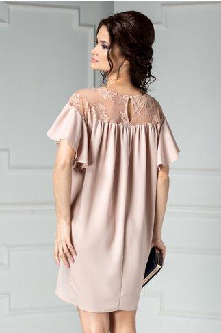 Rochie Brise roz cu dantela croi larg