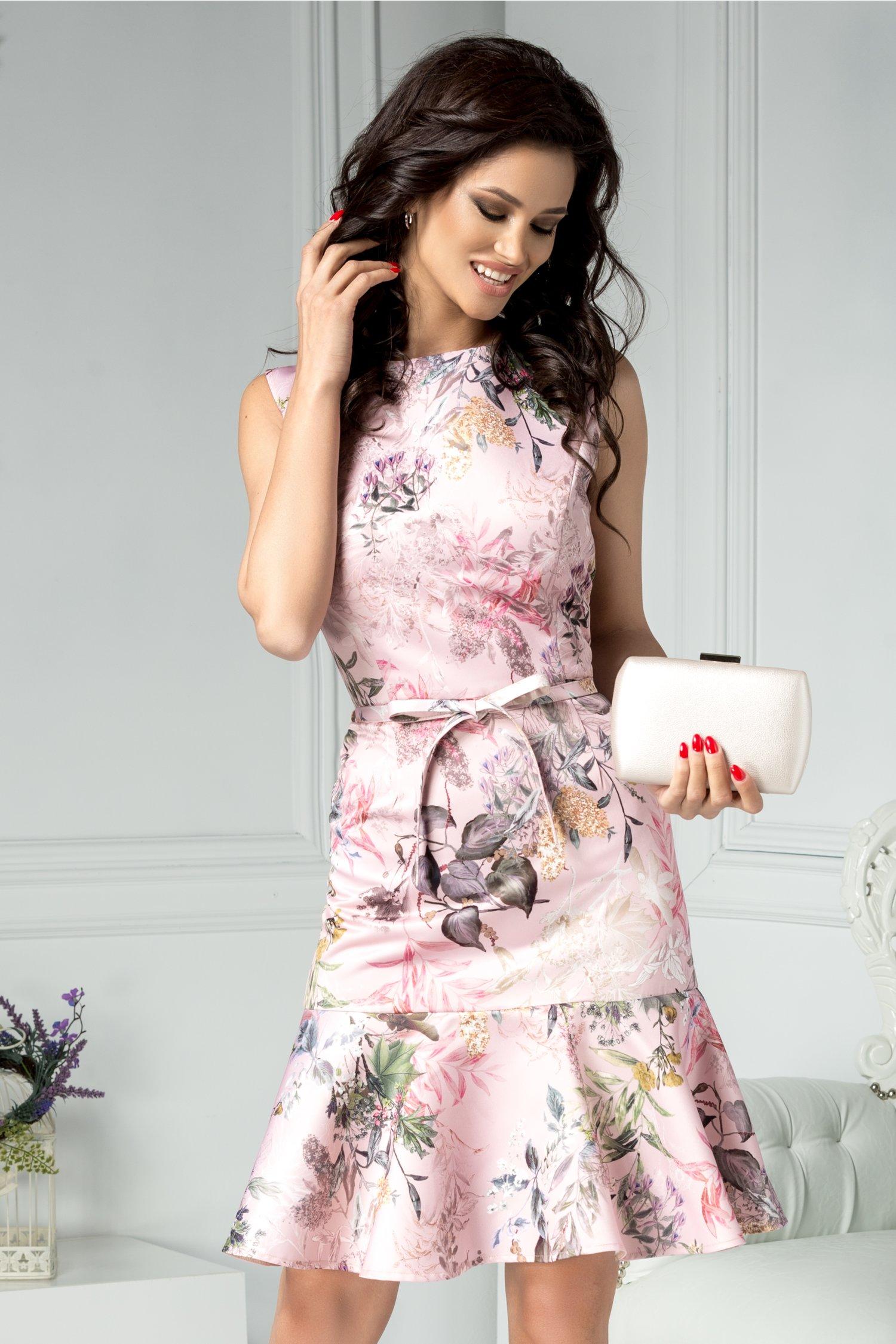 Rochie Brise Ruth roz cu imprimeu