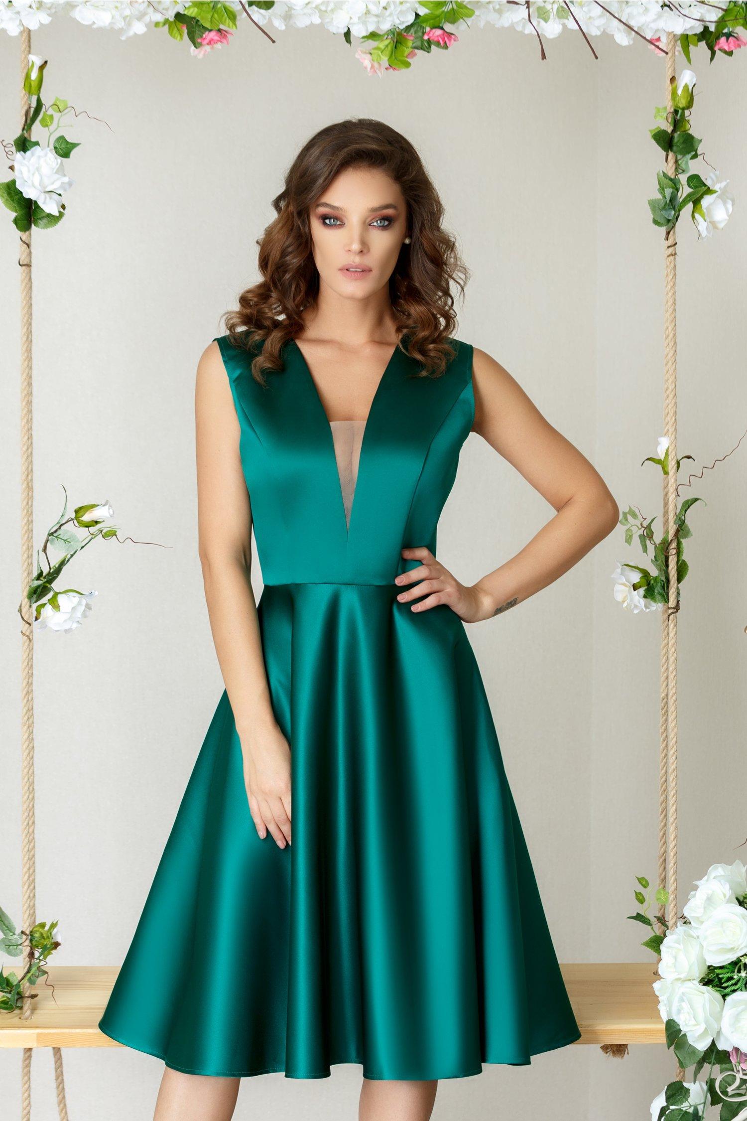 Rochie Brise Sharon verde cu decolteu midi eleganta