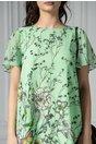 Rochie Brise Thea verde deschis cu manecute vaporoase si imprimeu floral
