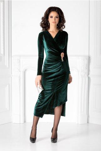 Rochie Brise verde din catifea cu aspect fronsat si brosa