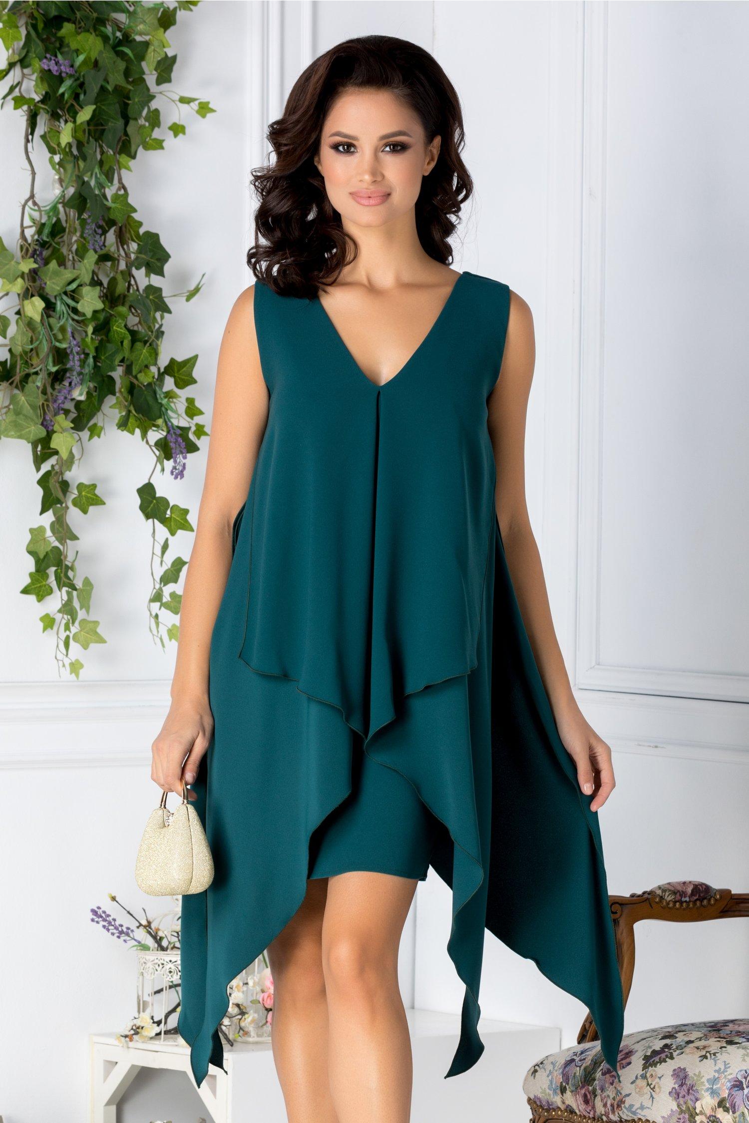 Rochie Brise verde scurta cu aplicatie stil capa