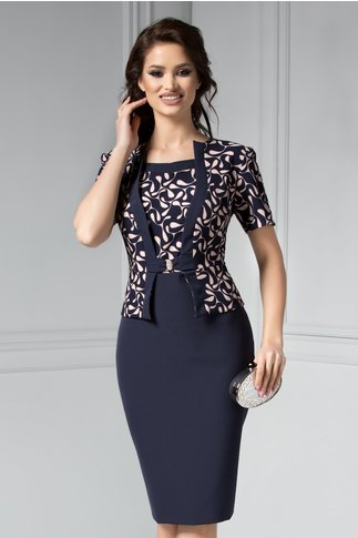Rochie Bruno bleumarin cu crem eleganta stil sacou