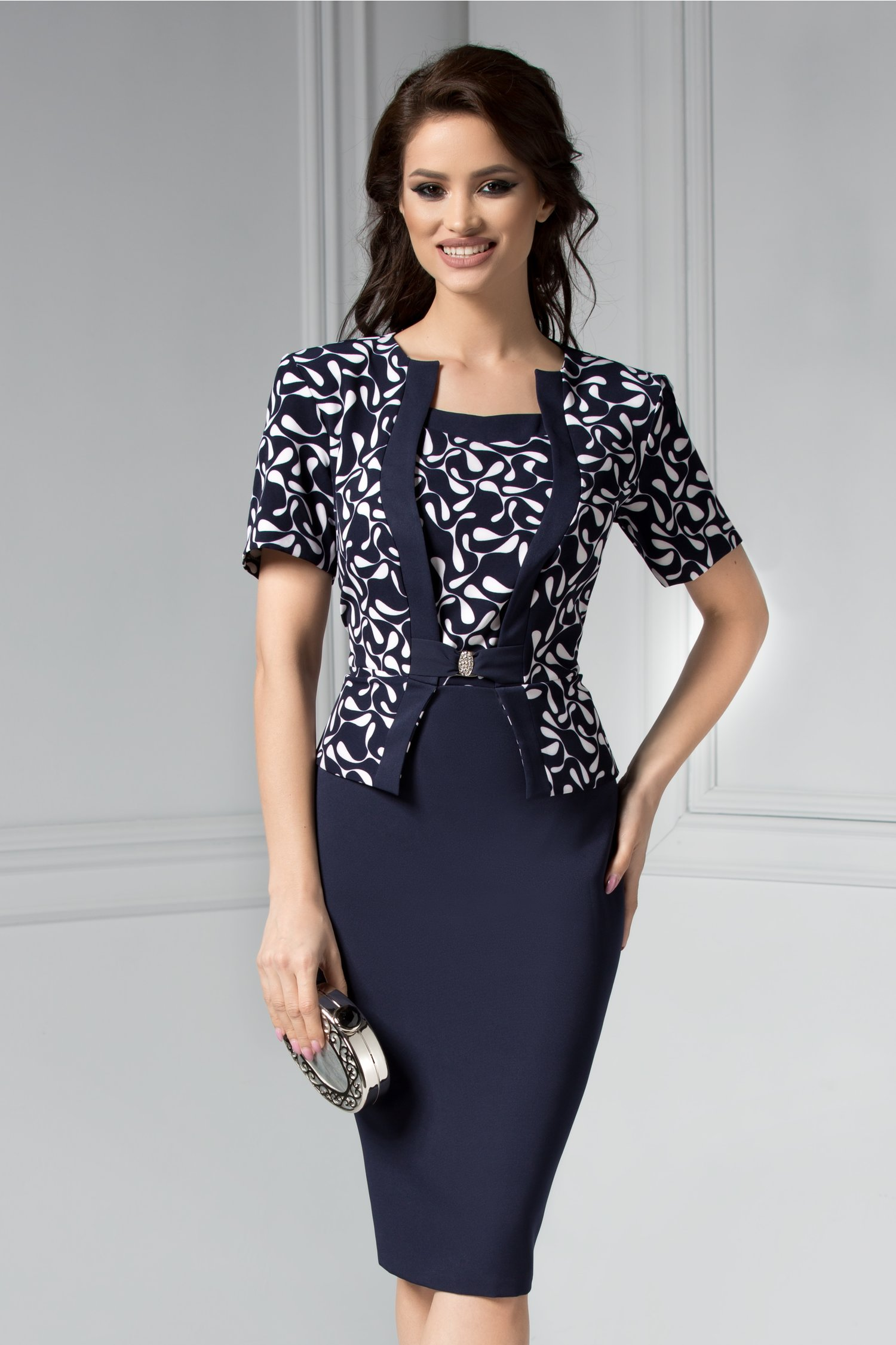 Rochie Bruno bleumarin eleganta stil sacou