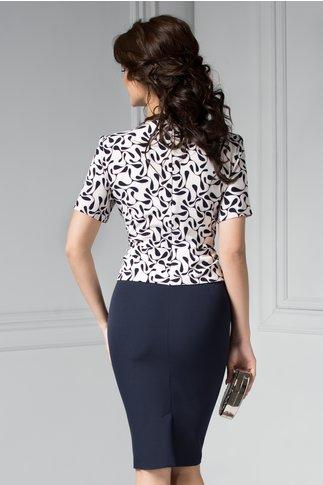 Rochie Bruno bleumarin cu alb eleganta stil sacou