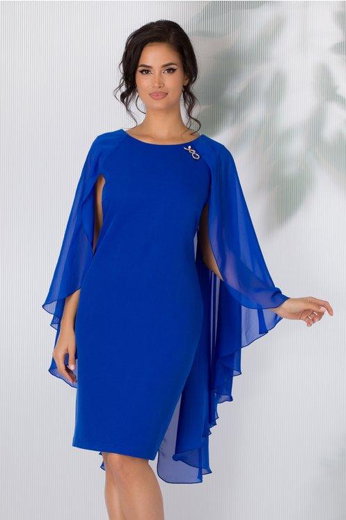Rochie Calida albastra cu brosa si voal pe spate