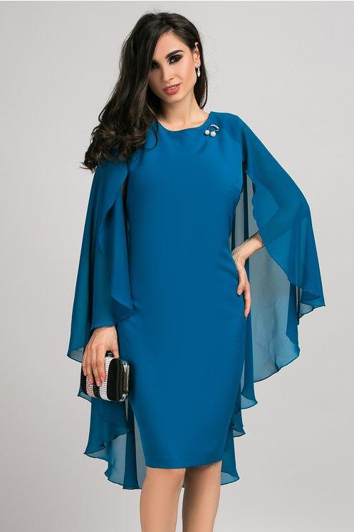 Rochie Calida albastru petrol cu voal pe spate si brosa