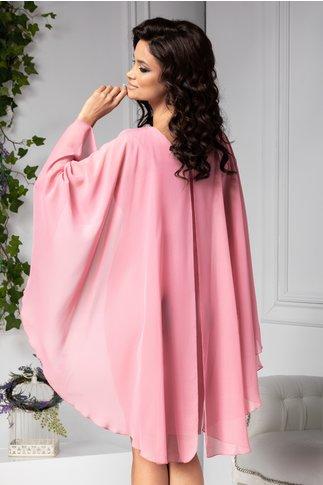 Rochie Calida roz midi de ocazie cu brosa si voal