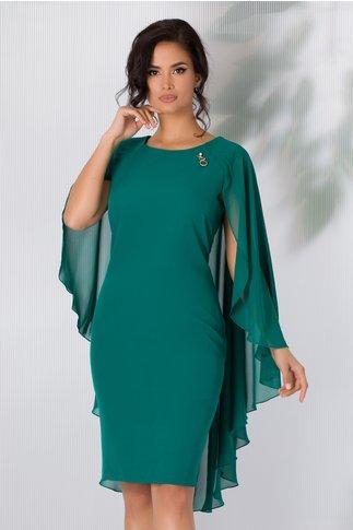 Rochie Calida verde inchis cu brosa si voal pe spate