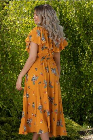Rochie Calina galben mustar cu imprimeu floral si volan la bust